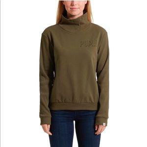 Puma Ribbed Mock Neck Long Sleeve Sweatshirt
